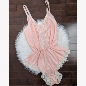 Vintage pink lace teddy
